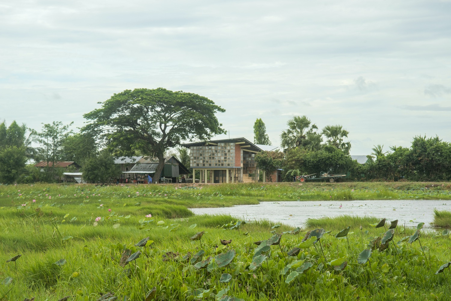 village with beautiful green landscape in Cambodia