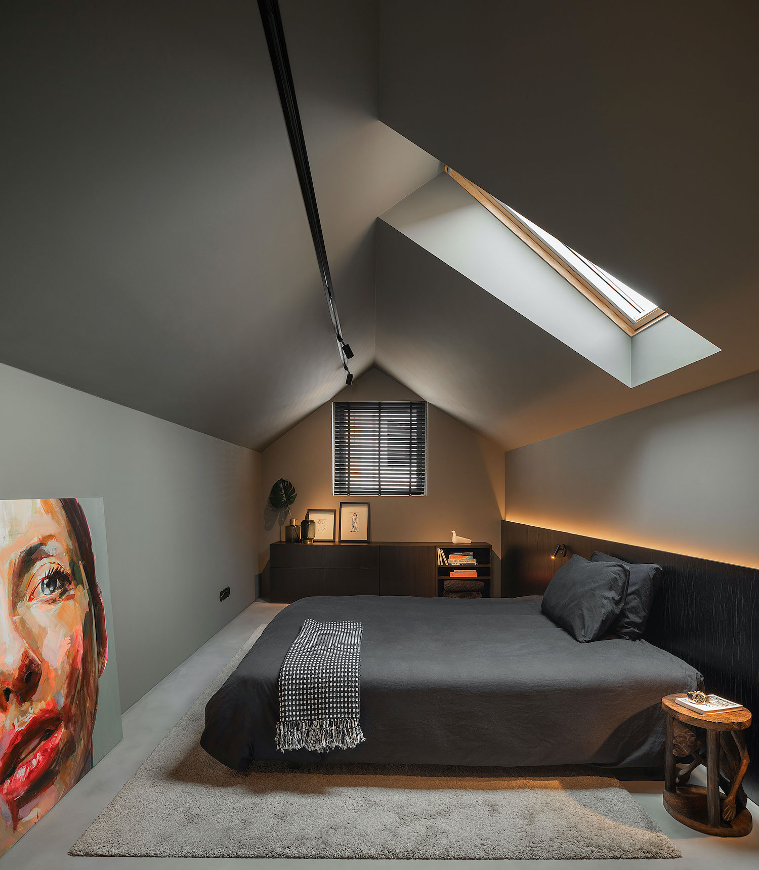 bedroom with paining on the floor