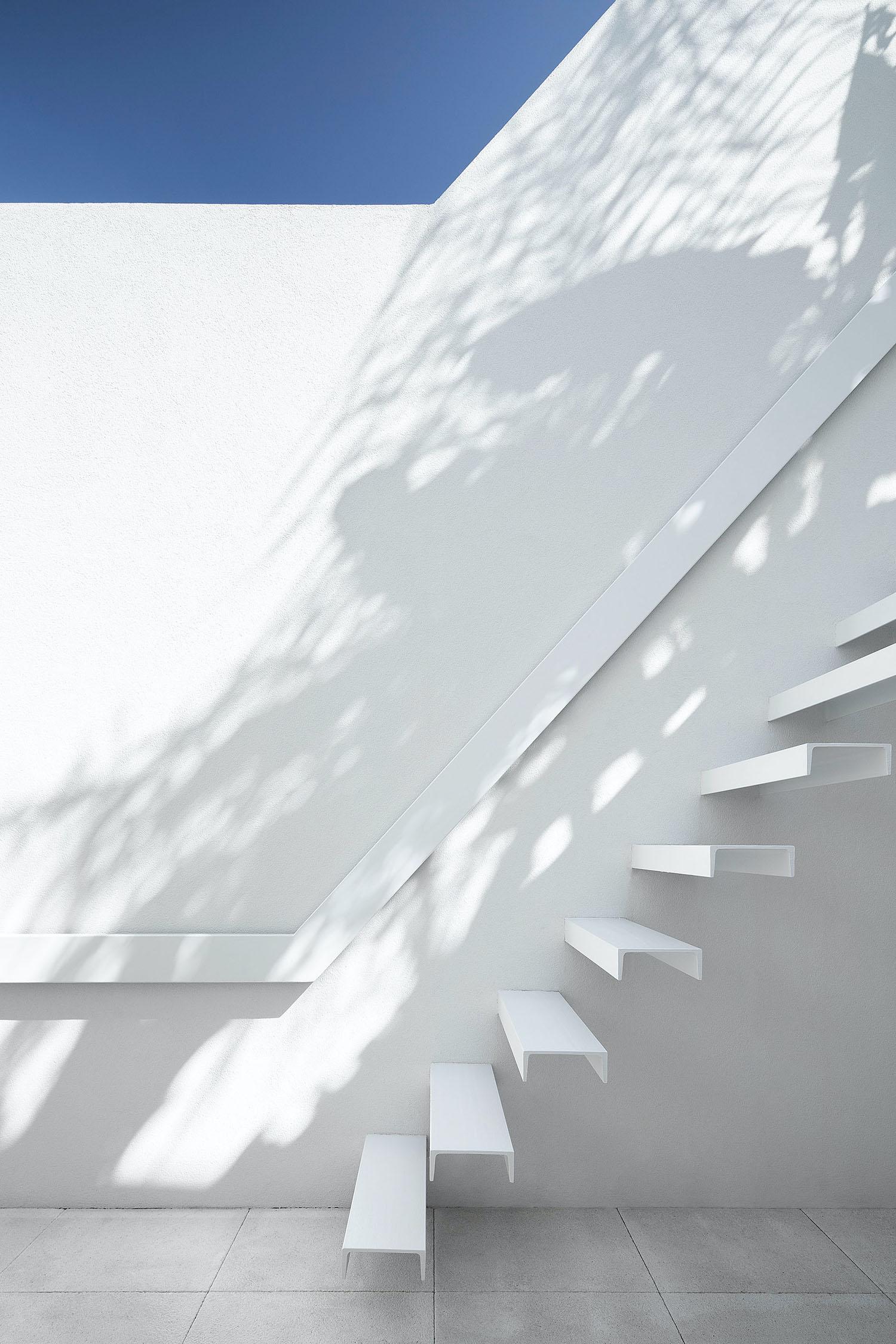 white metalic staircase