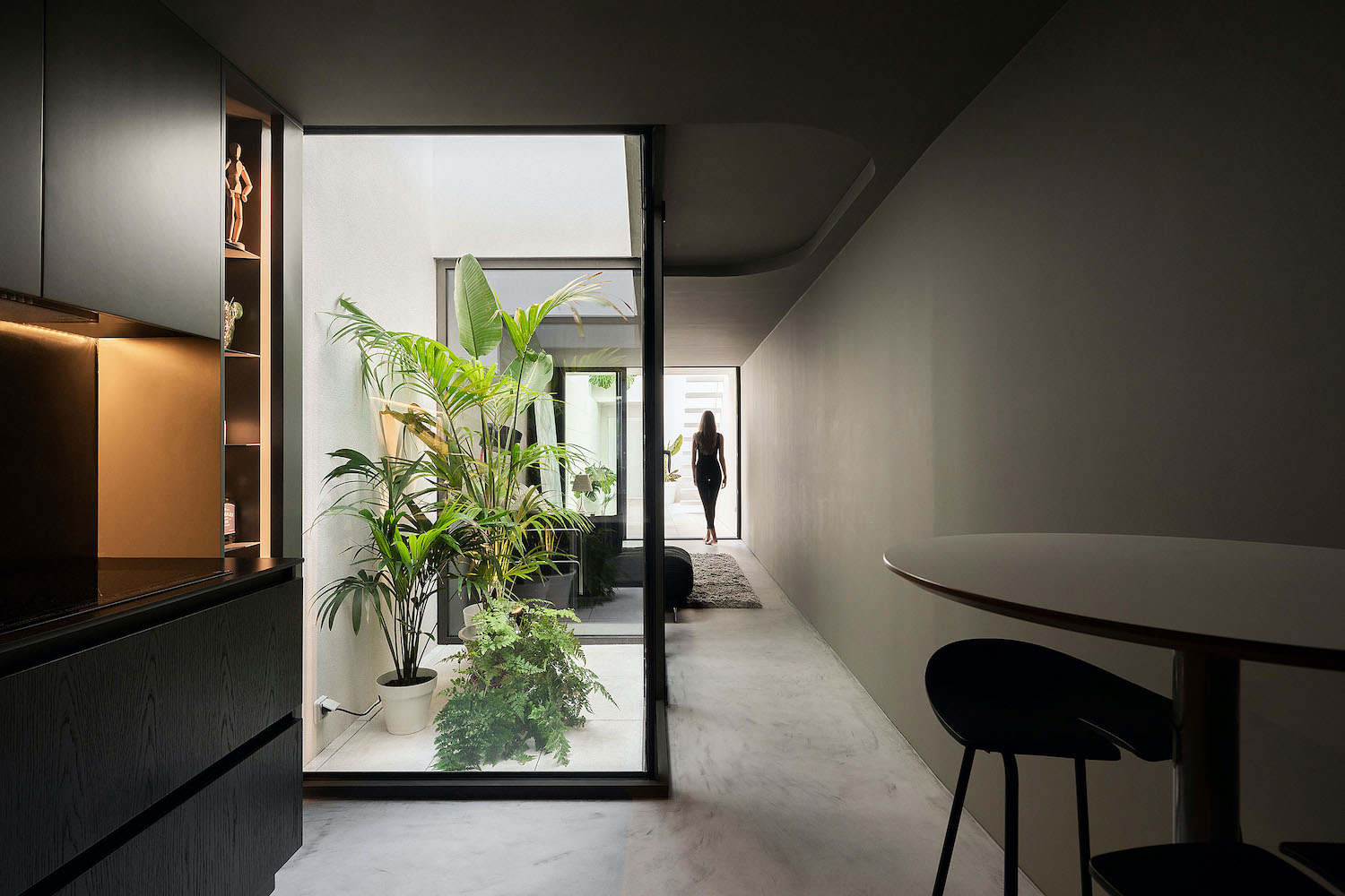 small house with indoor patio