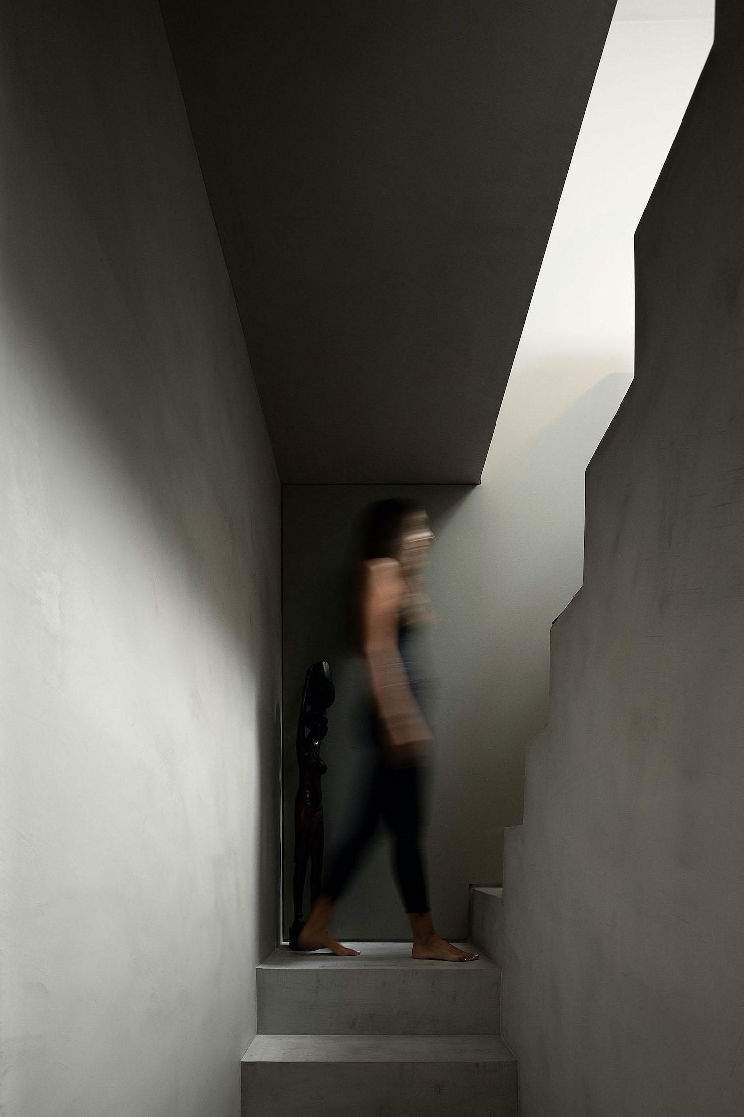 girl going upstairs