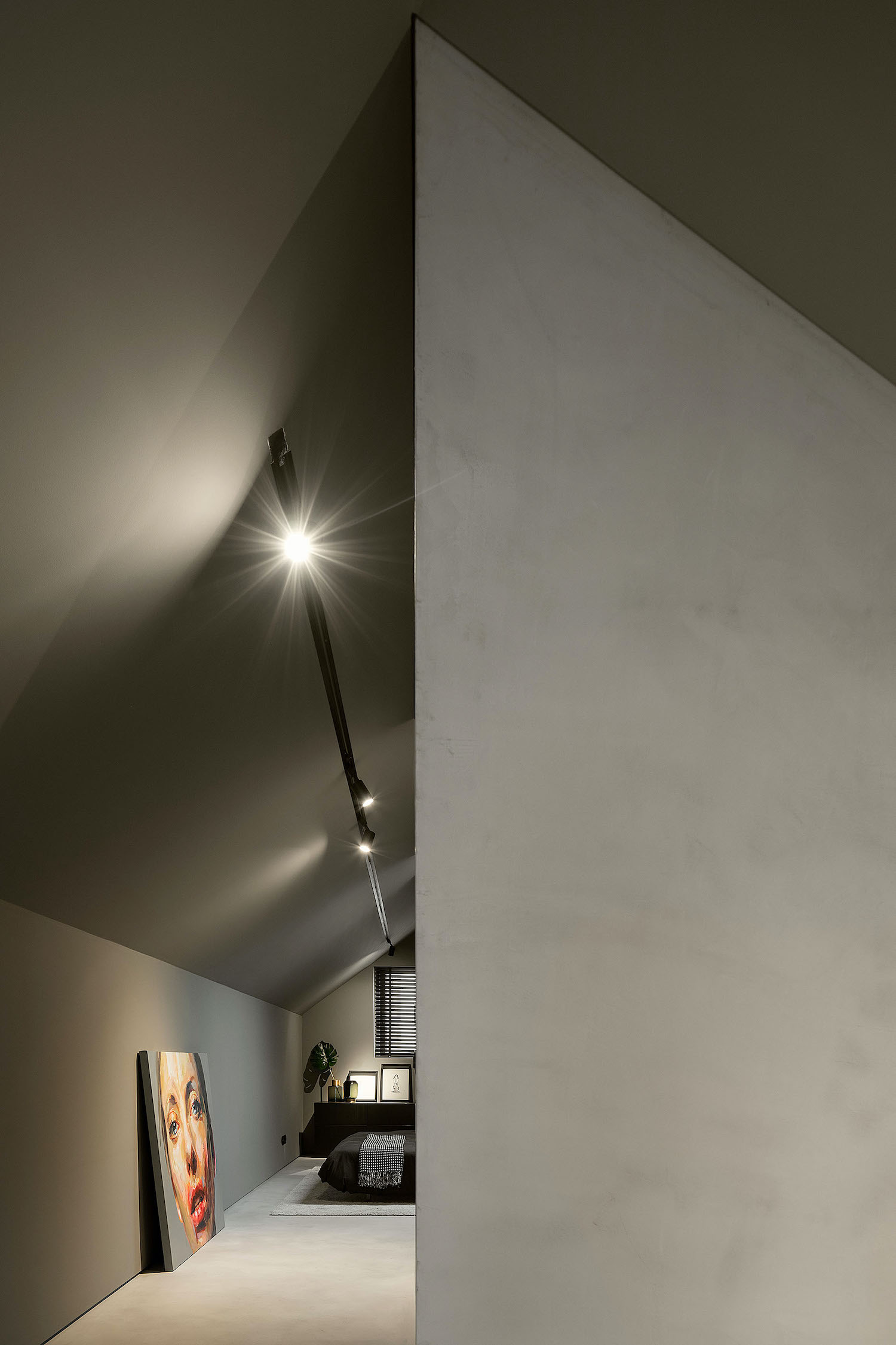 room with light on the ceiling