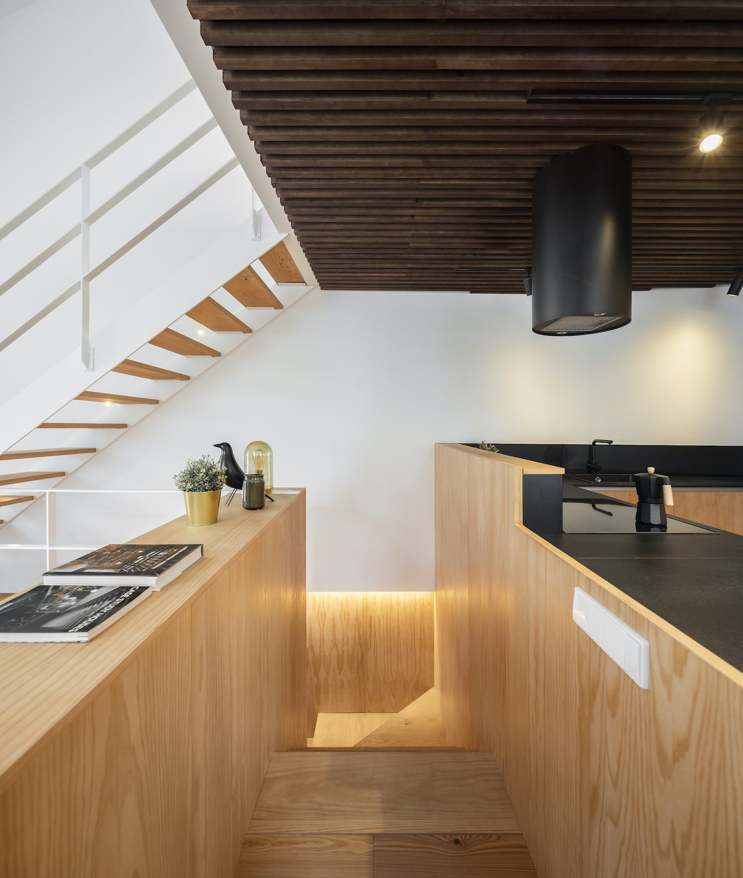 kitchen located near staircase