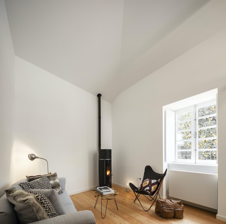 black fireplace inside living room