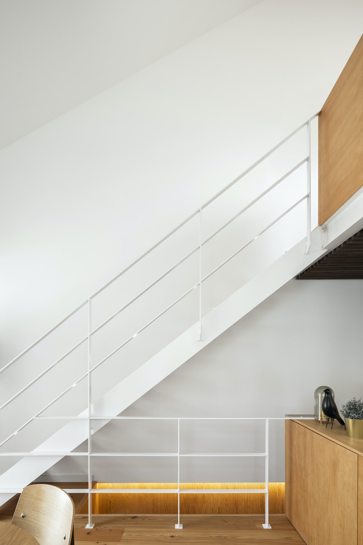 staircase with steel handrail