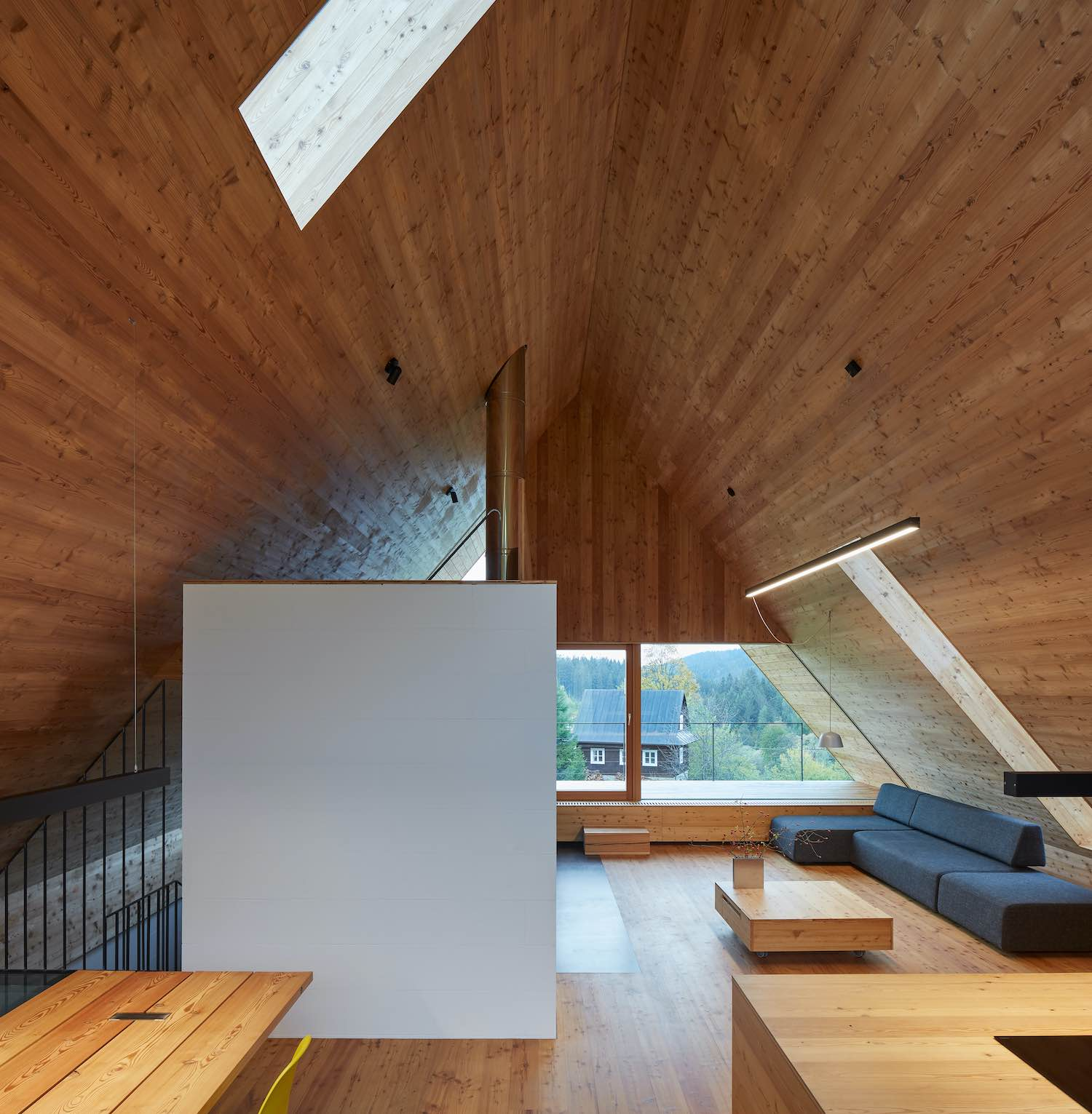 interior of the cabin made of wood