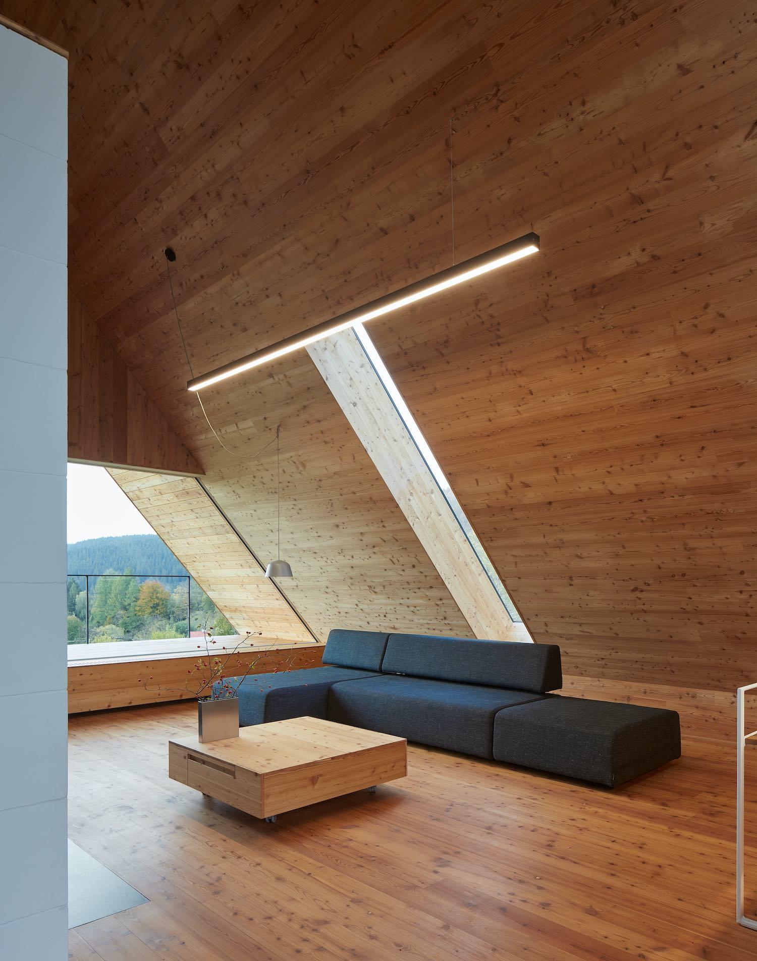 sun light enters the living room through skylight and large triangular window