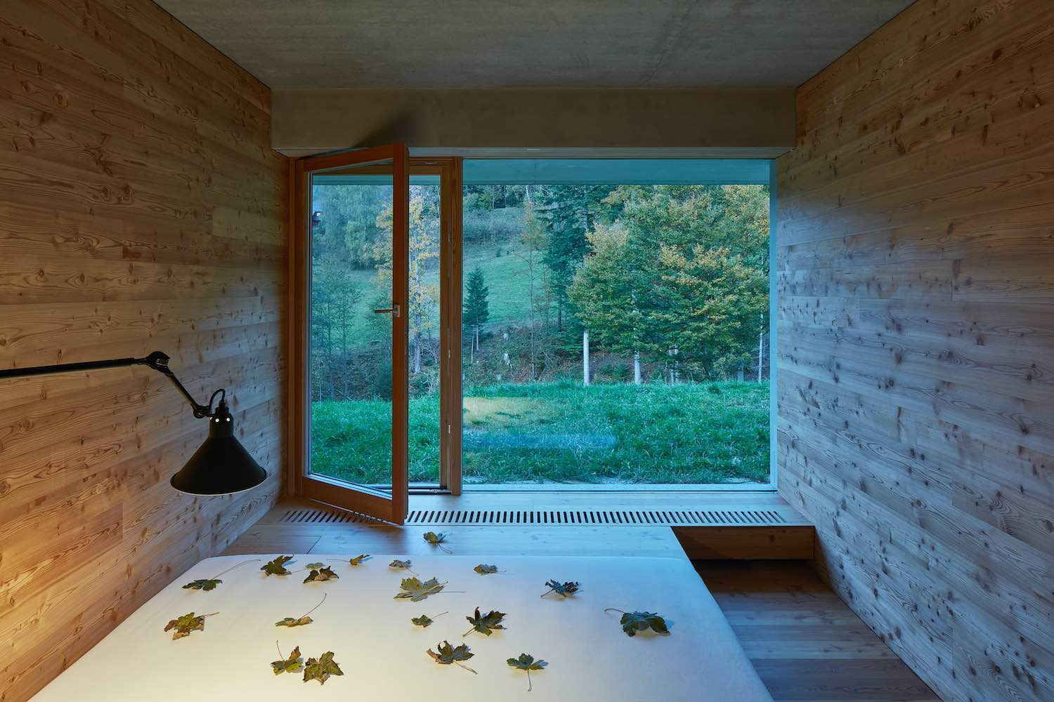 bedroom with large window toward nature