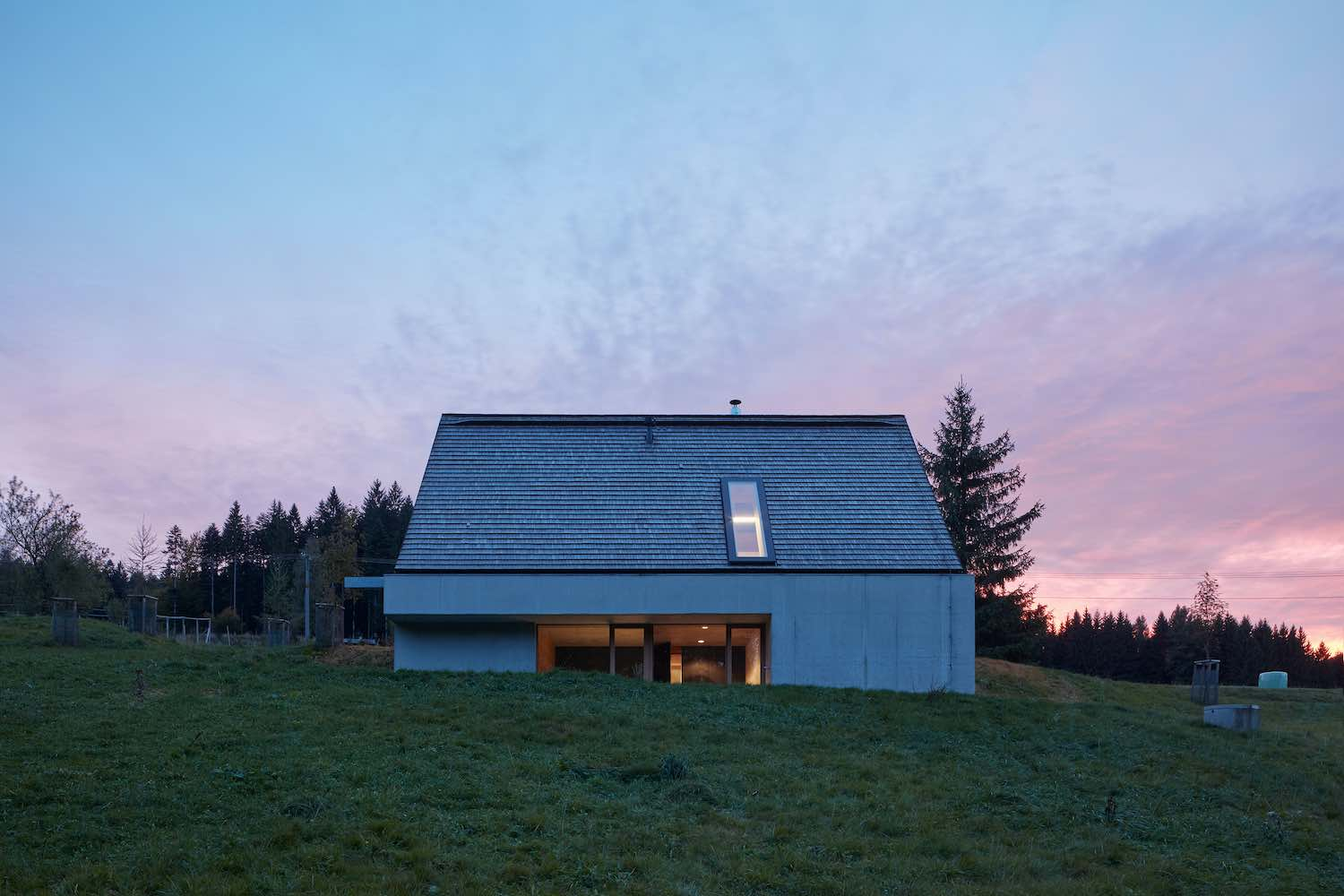 the cabin facade captured at the sunset