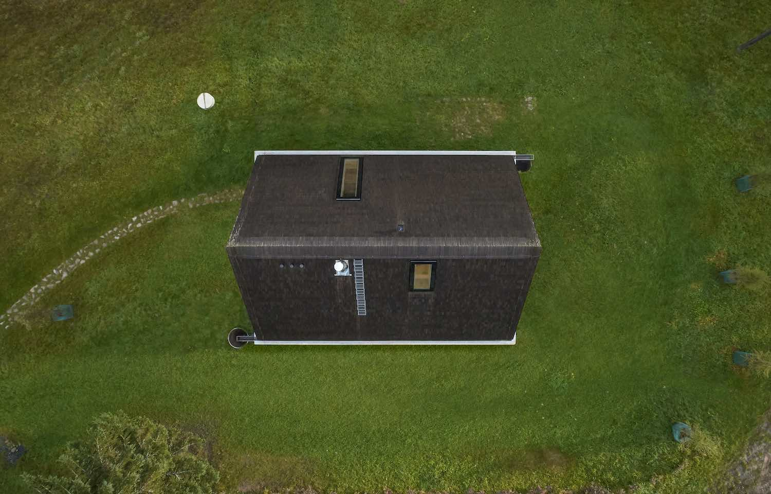 the aerial view of the cottage