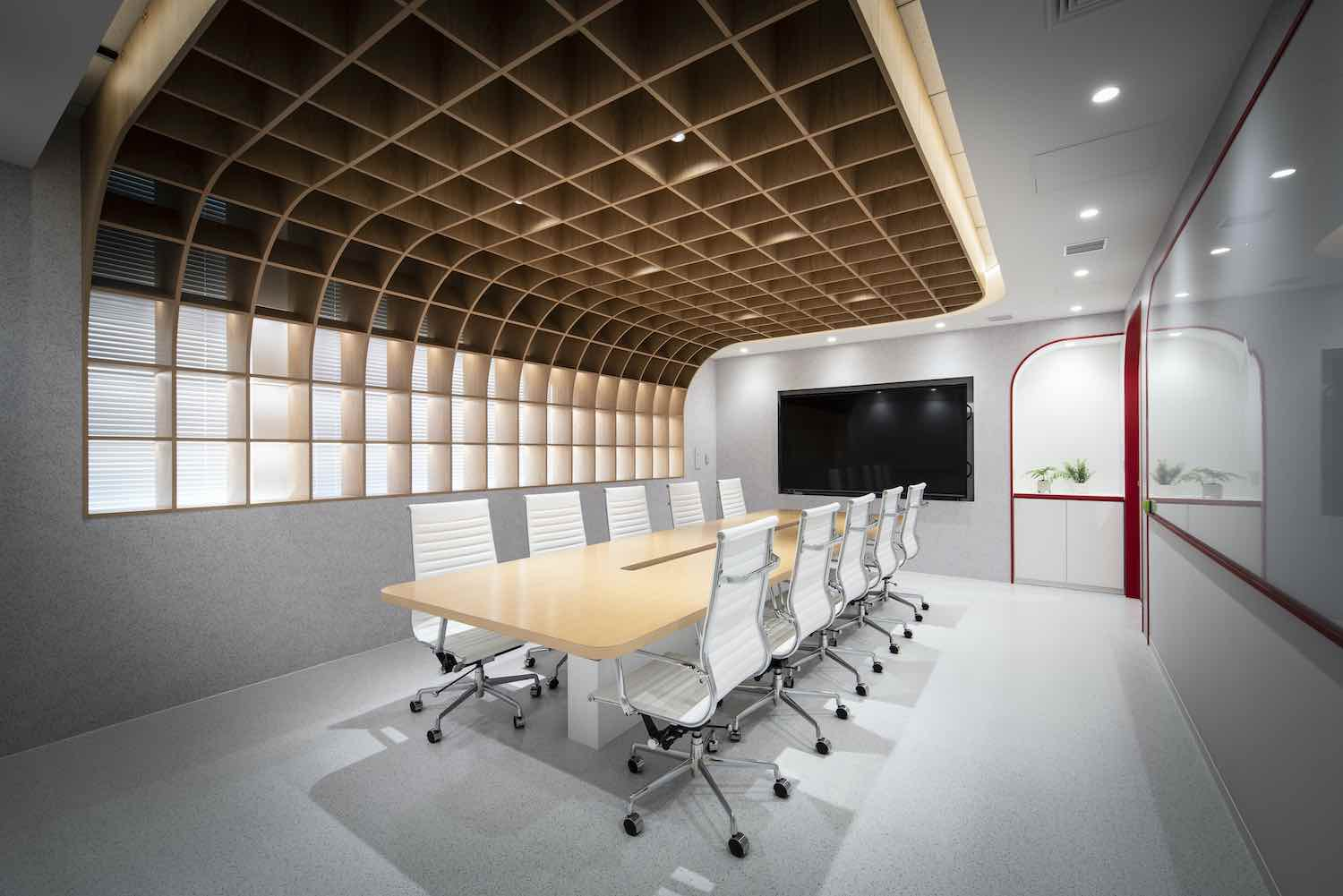 conference room with modern seats and table