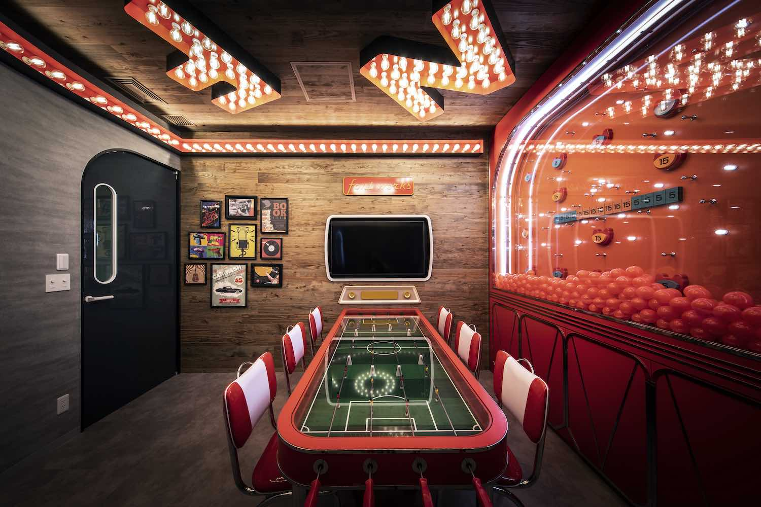 a soccer table inside the gaming room