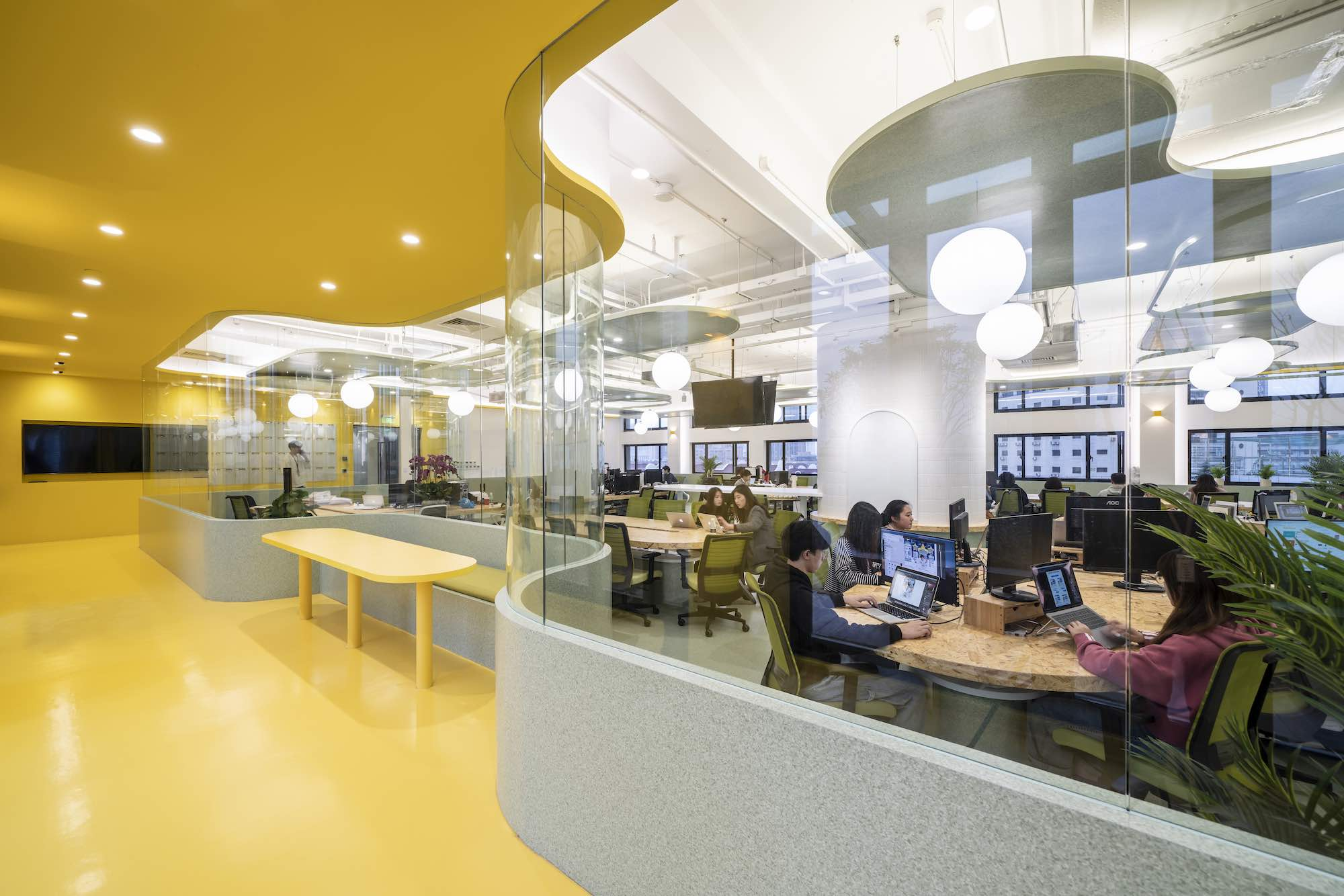 an office in china with yellow color