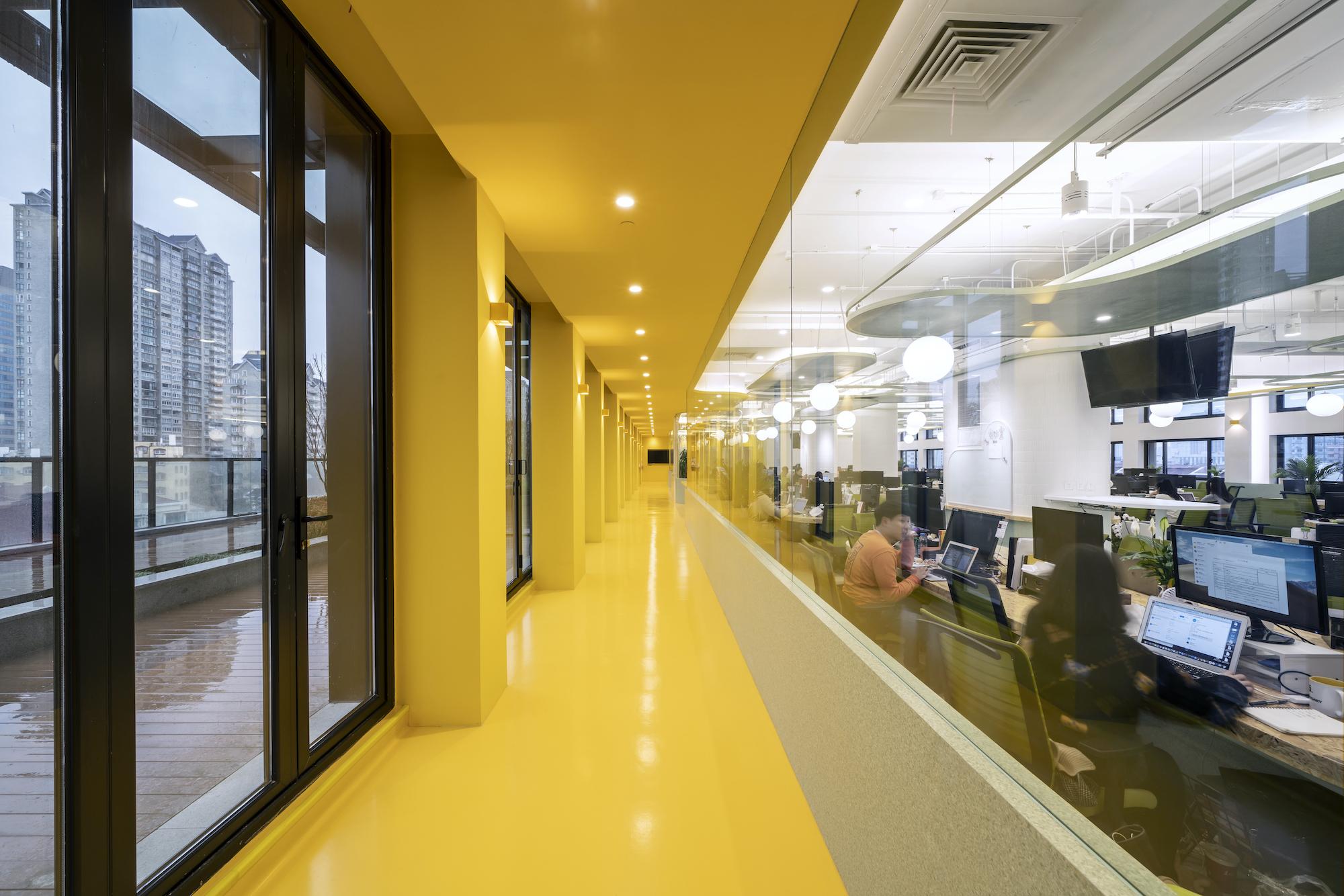 corridor painted in yellow