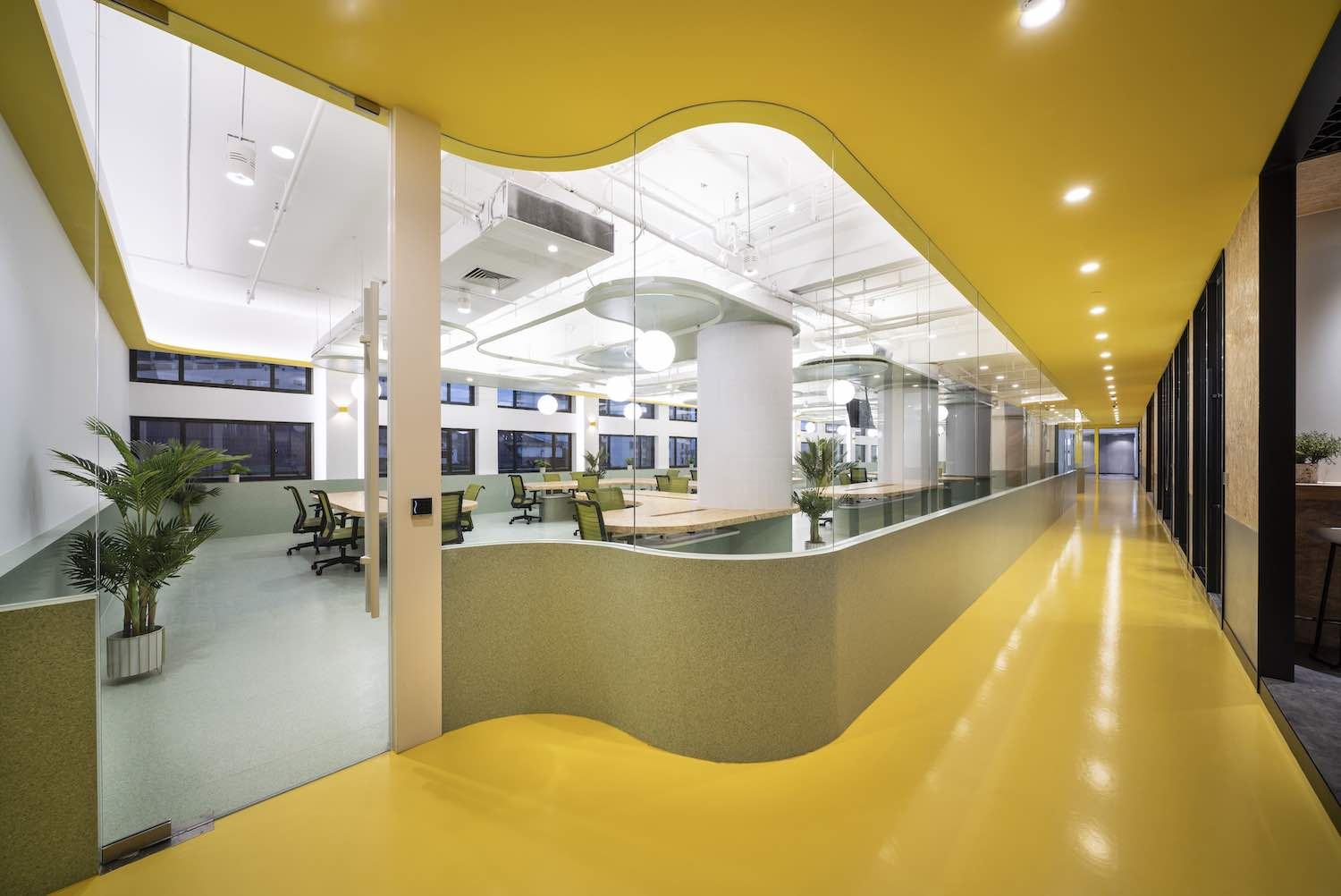the curved glass separating the working area from corridor