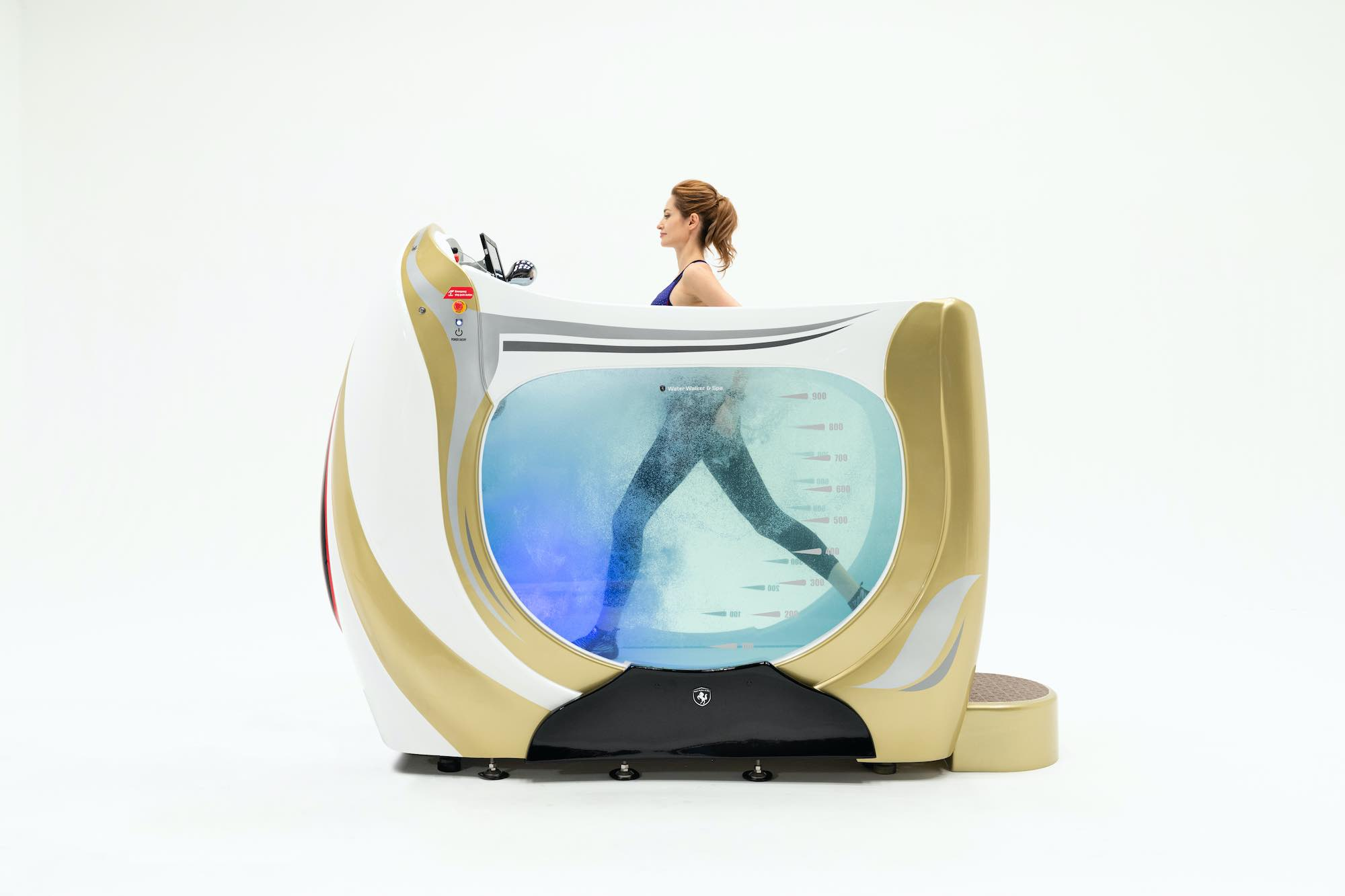 a woman running under water within a water treadmill