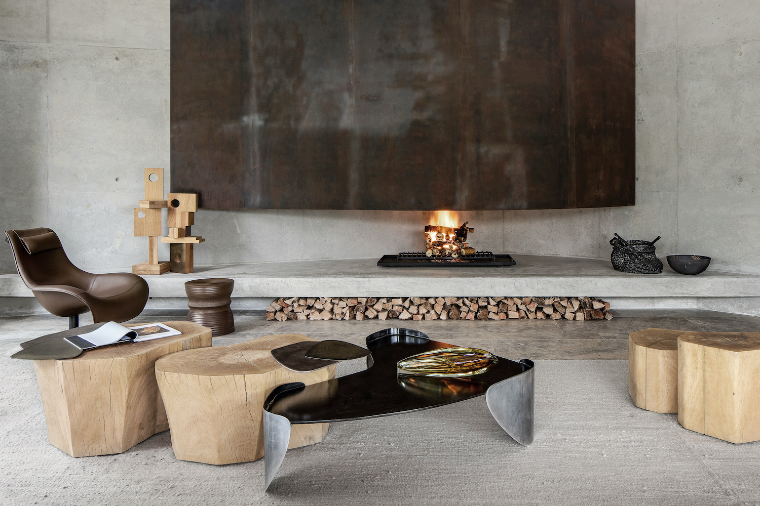 laguna coffee table in a cozy living room with fireplace