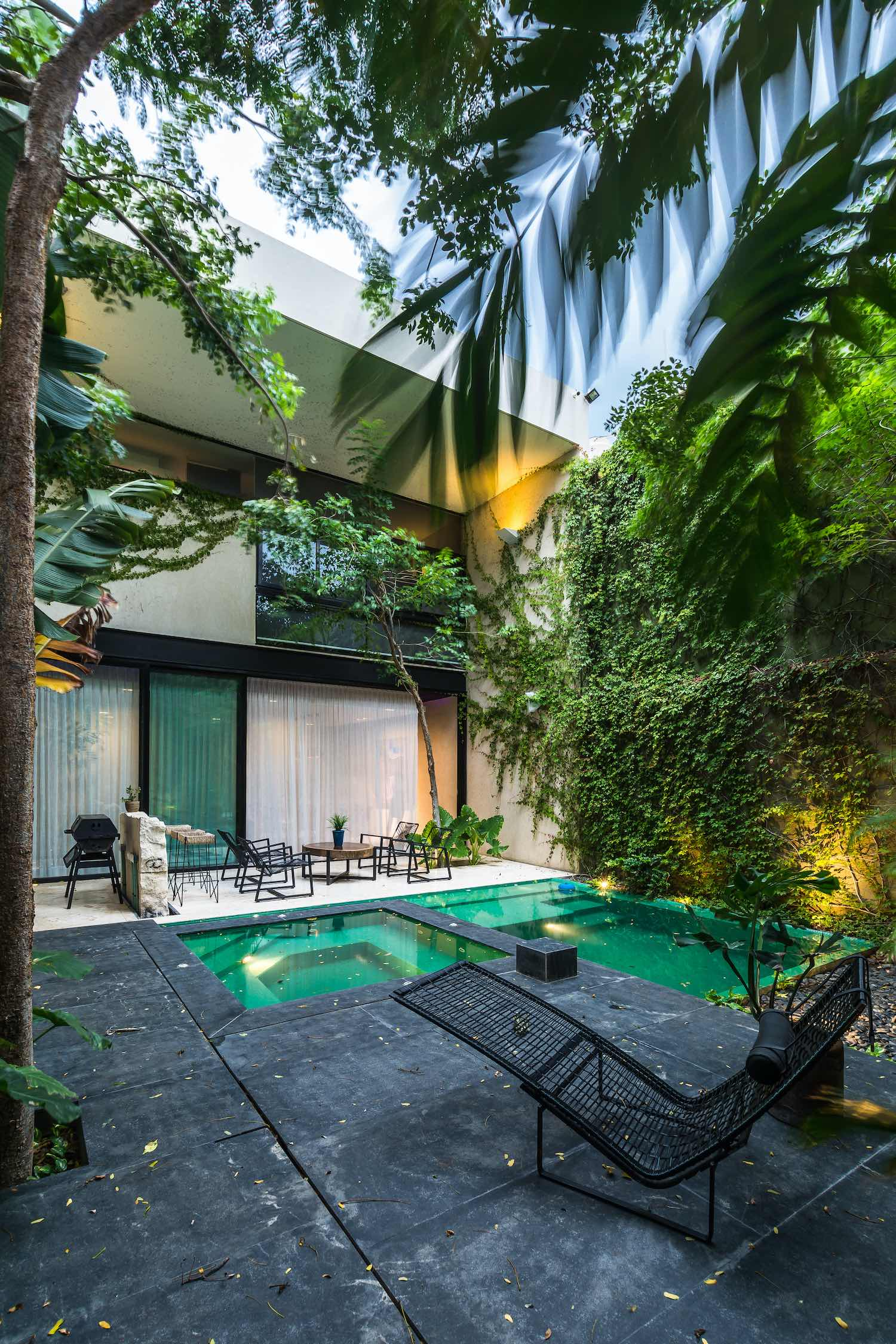 pool with a wall side with green plants
