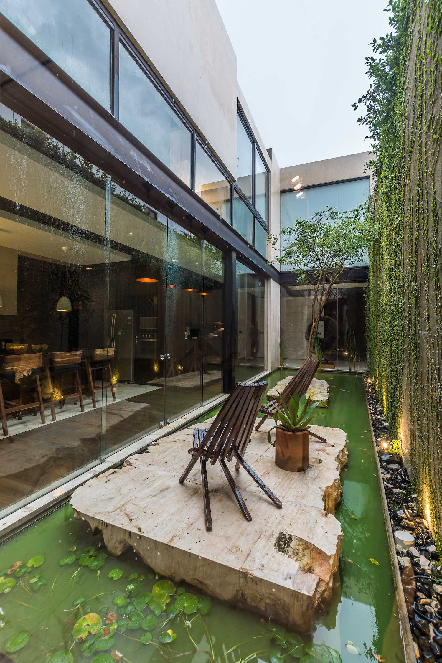 a central courtyard with water and green wall letting the natural light enters the house