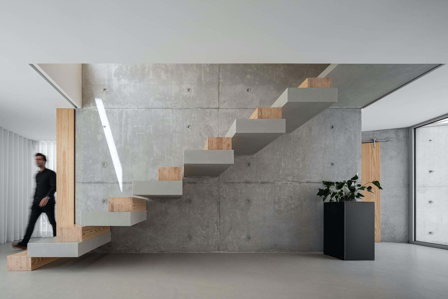 staircase made of concrete and wood