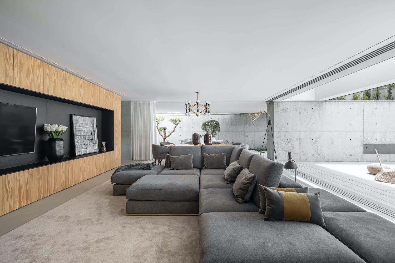 L-shape grey sofa