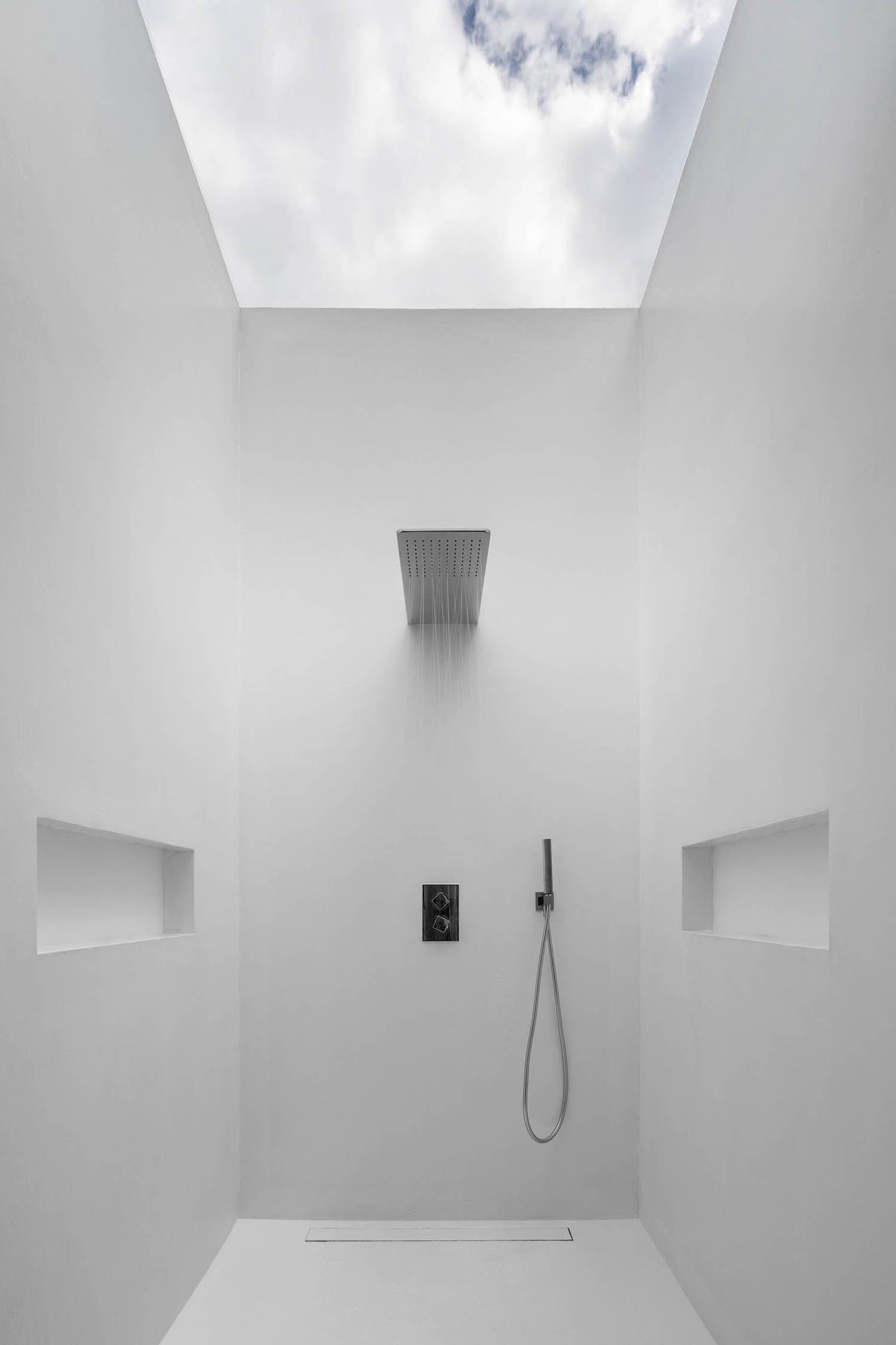 a stylish white bathroom