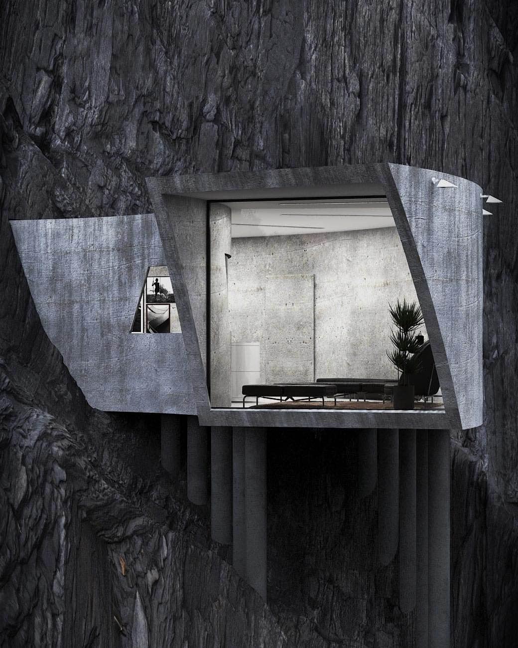 concrete house in a Rocky Mountain