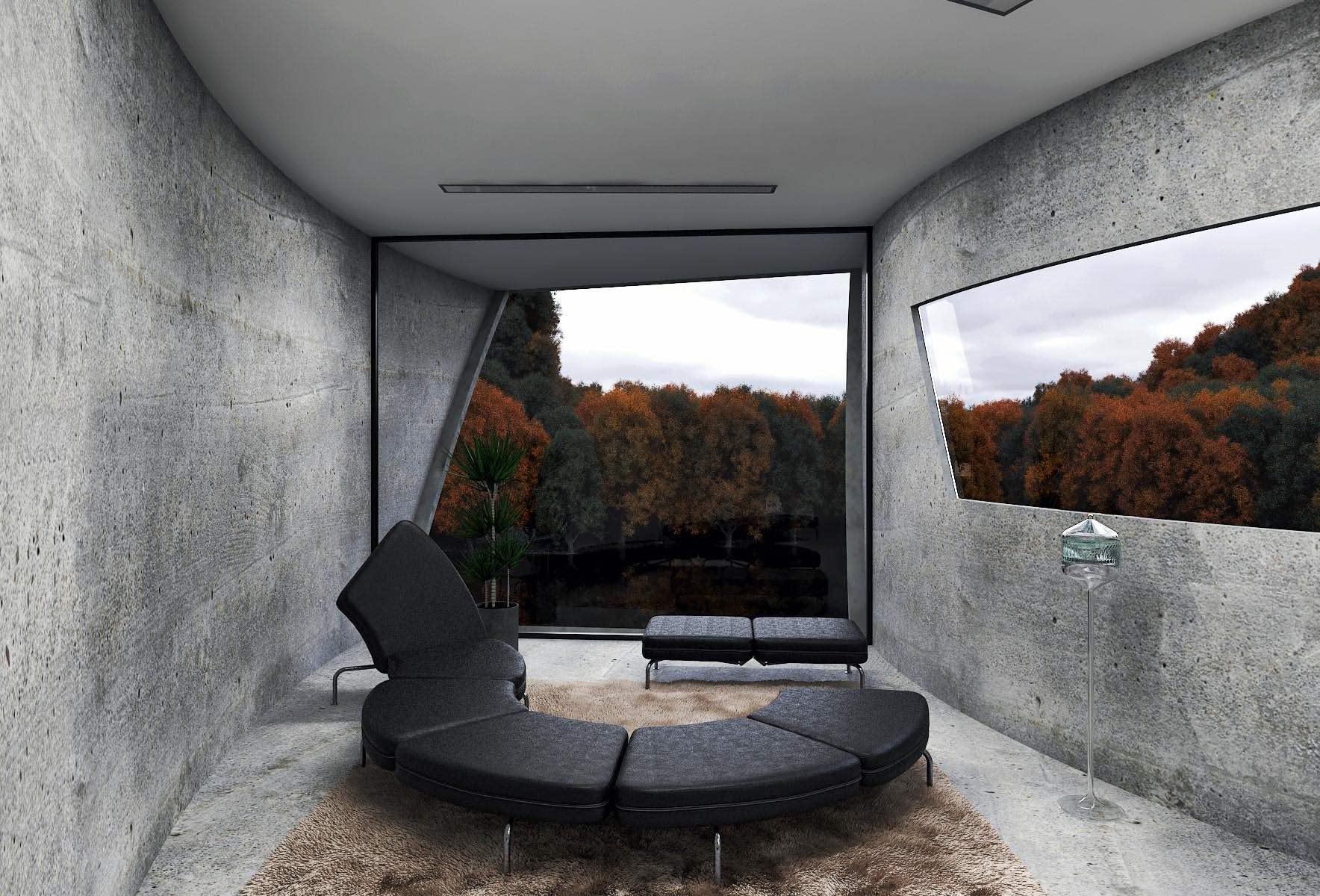 Concrete house in mountain by Reza Mohatashami