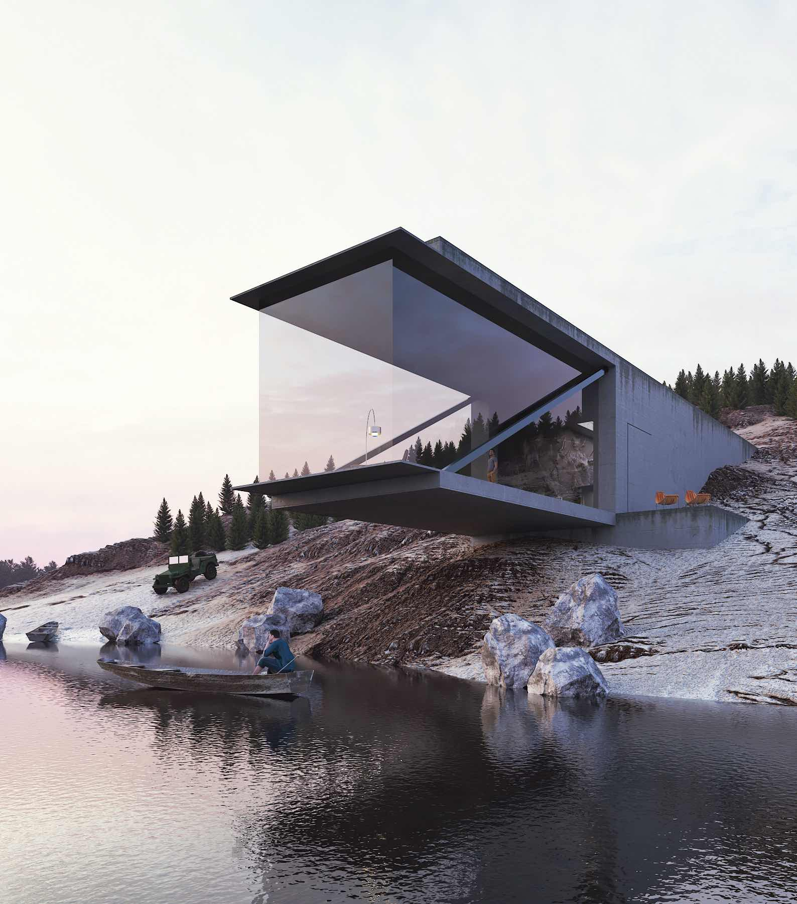 rocky house a lake concrete house located in Switzerland