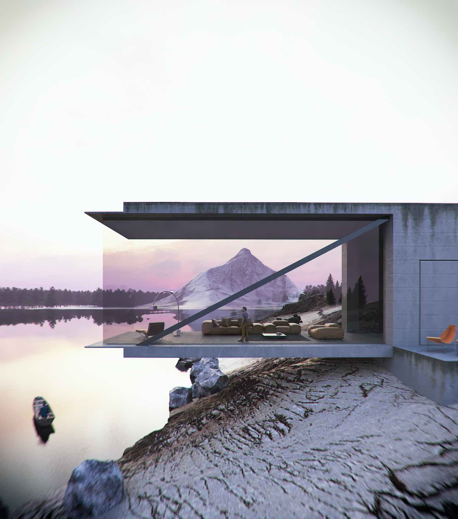 cantilevered living room over lake with fantastic view of snow mountain
