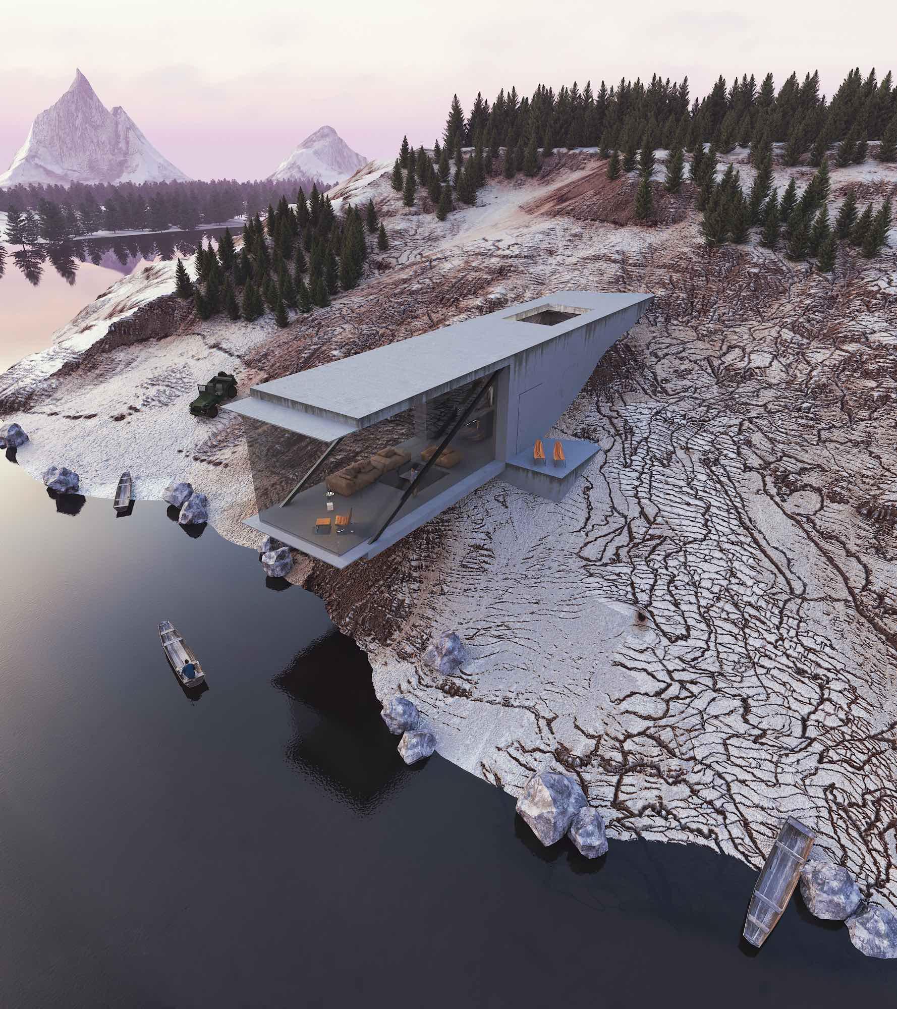 Minimalist concrete house in a Swedish Lake by Reza Mohatashami
