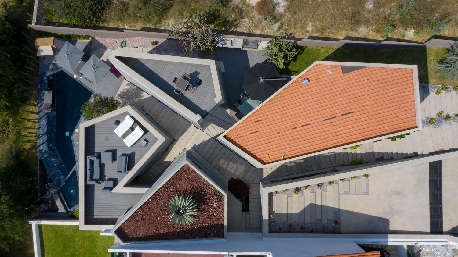 top view of the house captured with drone