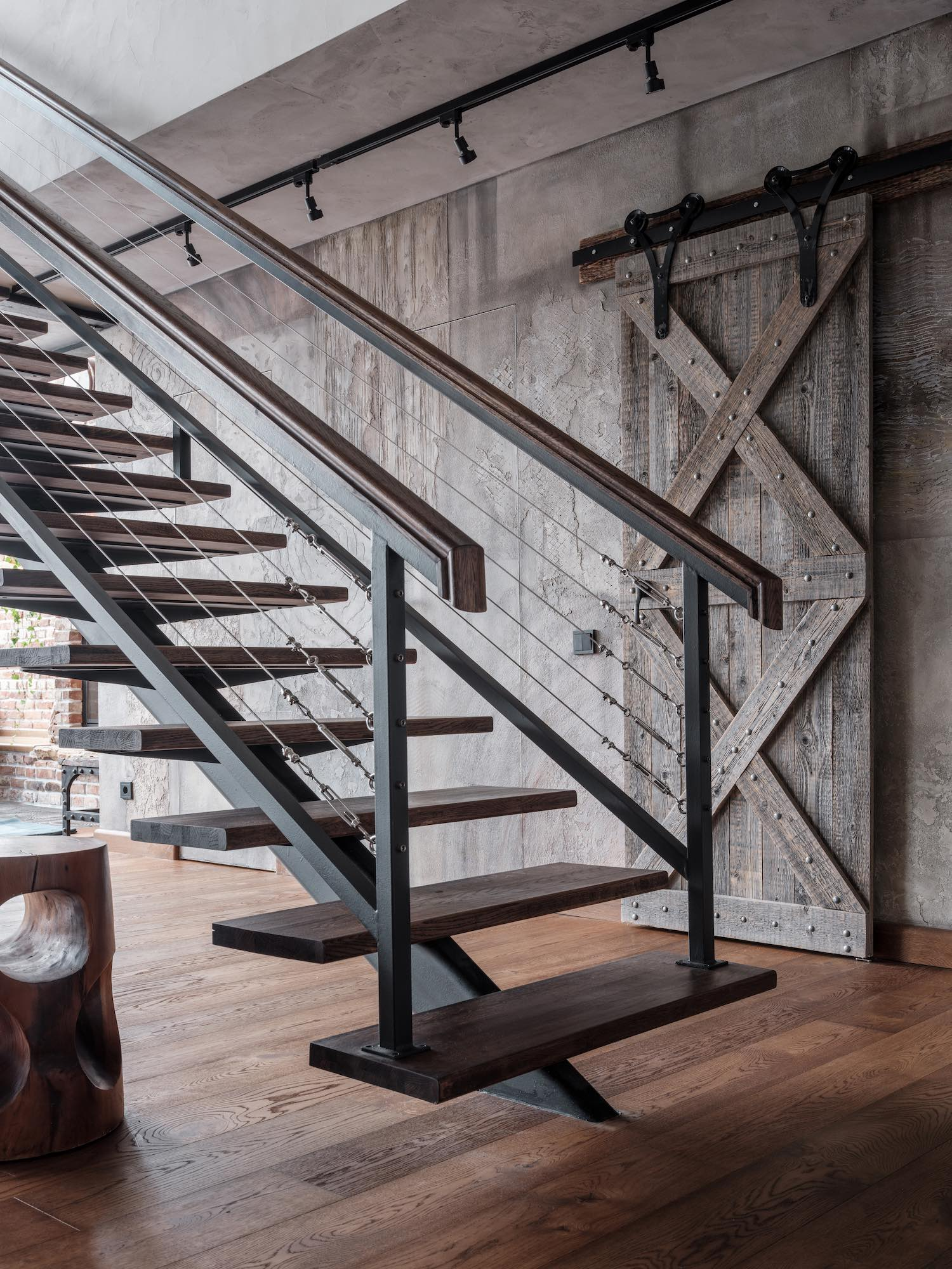modern metal structure staircase