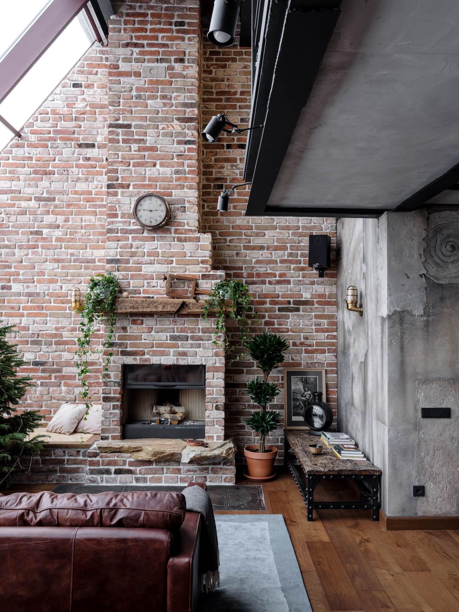 fireplace made with bricks