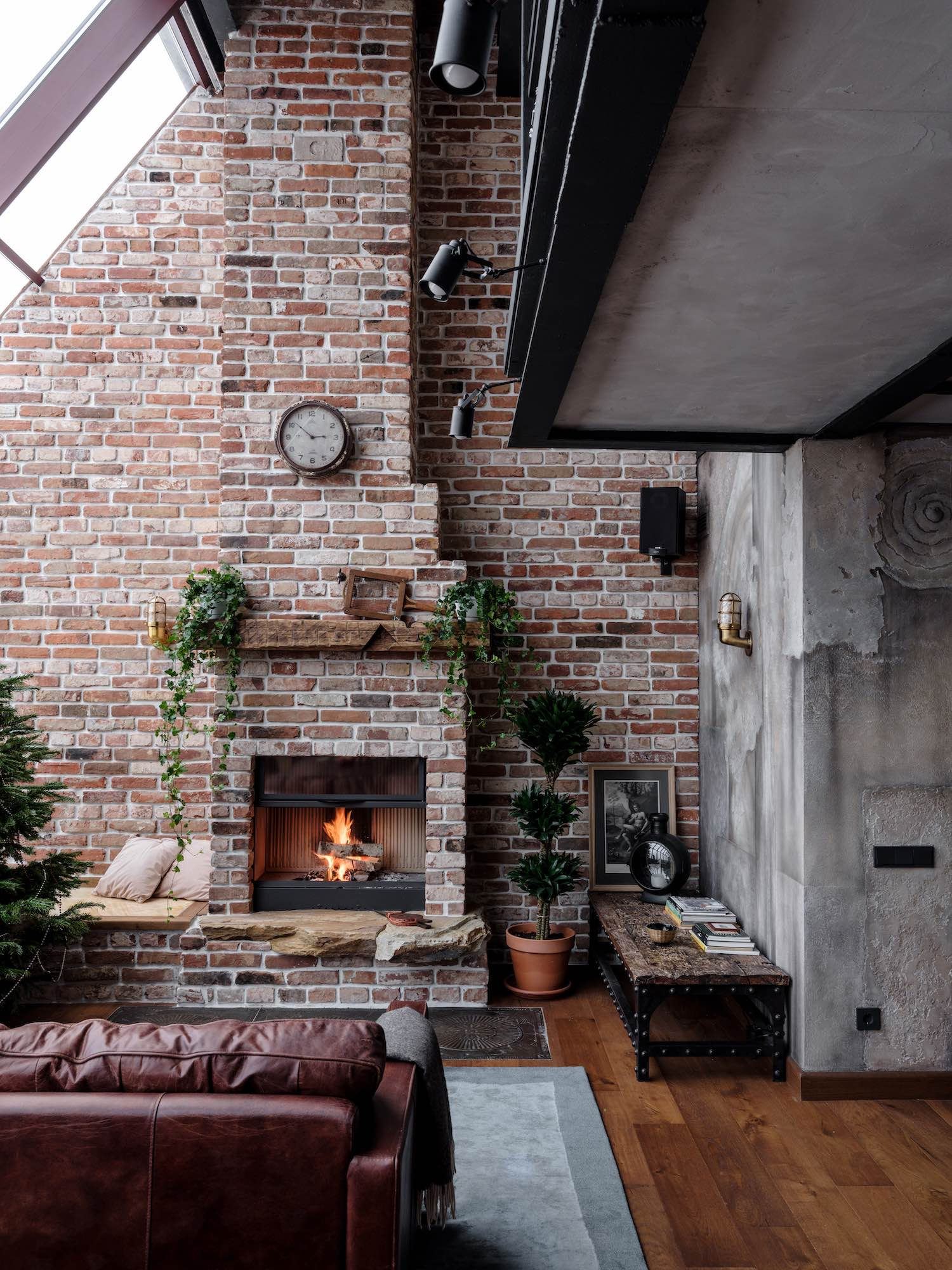 cozy fireplace in an industrial loft apartment
