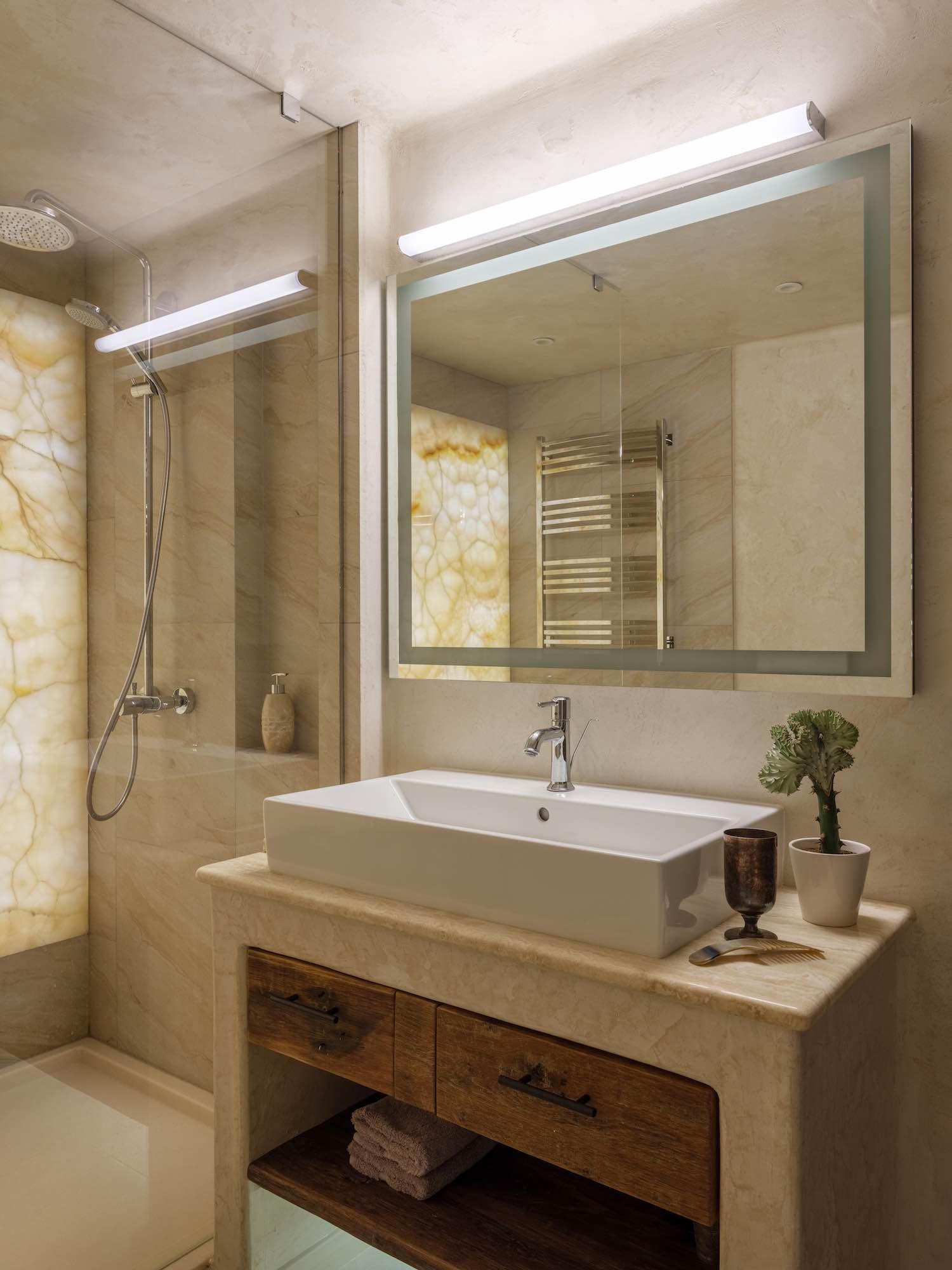 washing basin and mirror