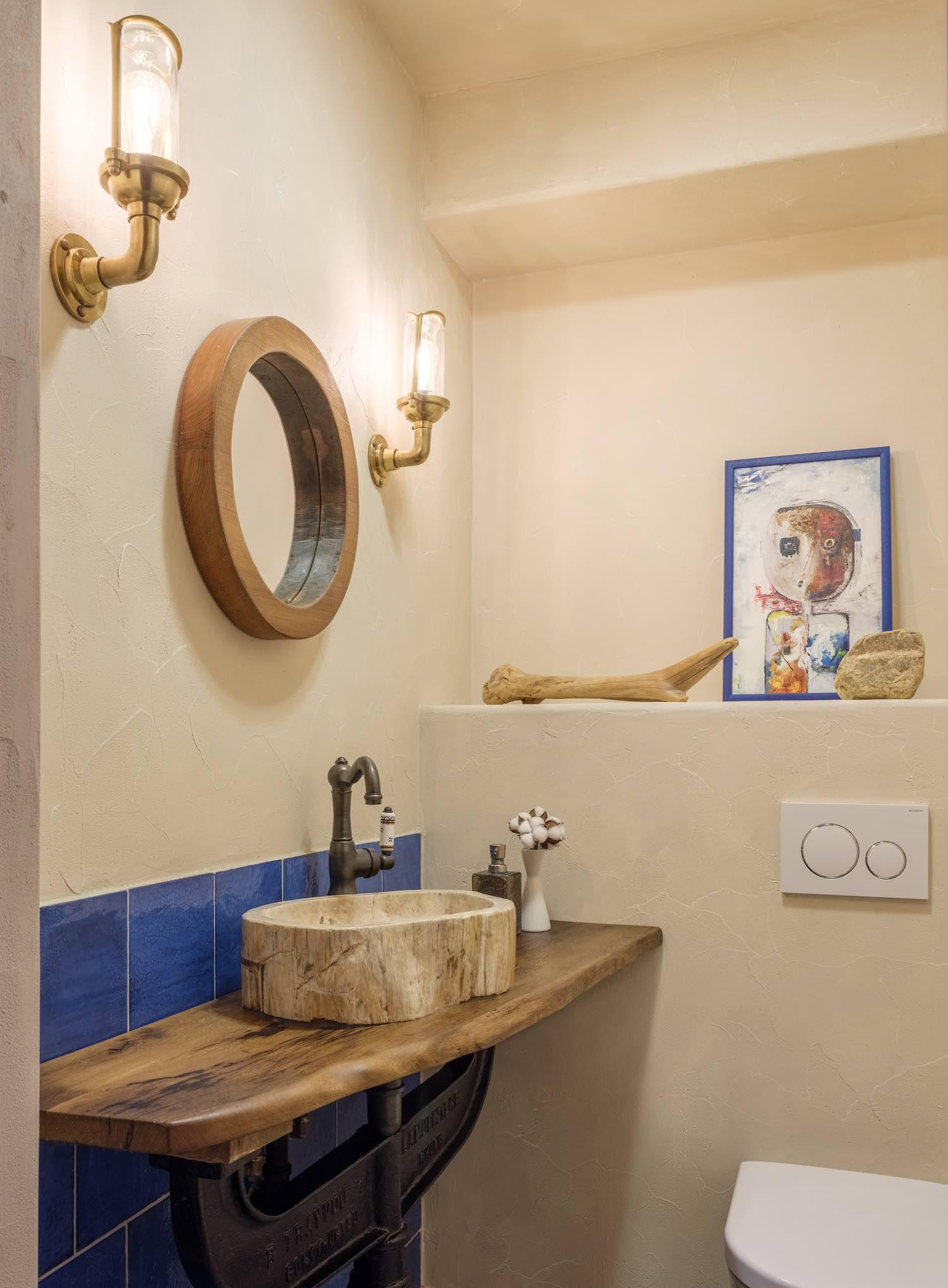 wooden washing basin in bathroom
