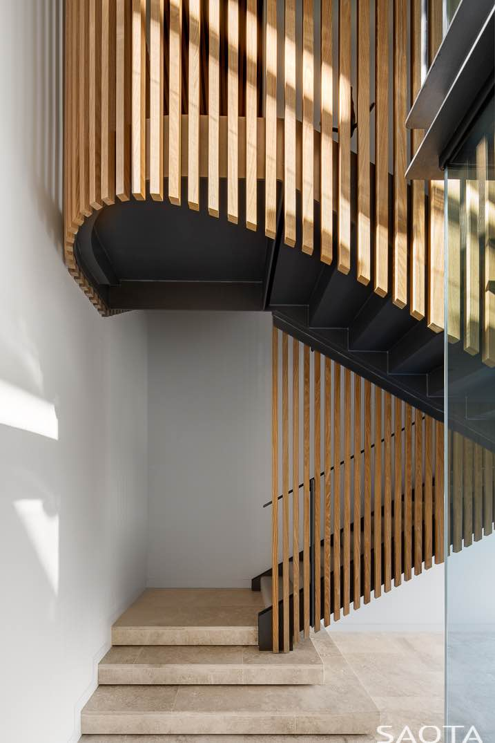 wooden curved staircase