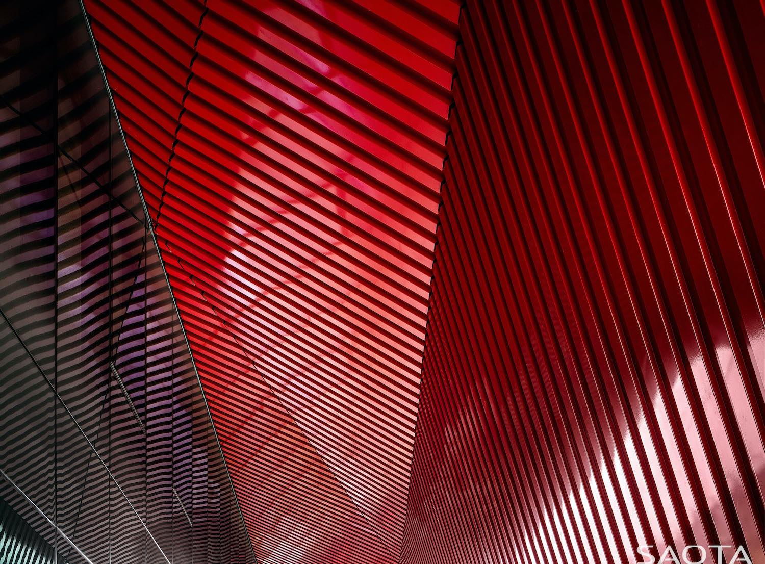 ceiling made of red material