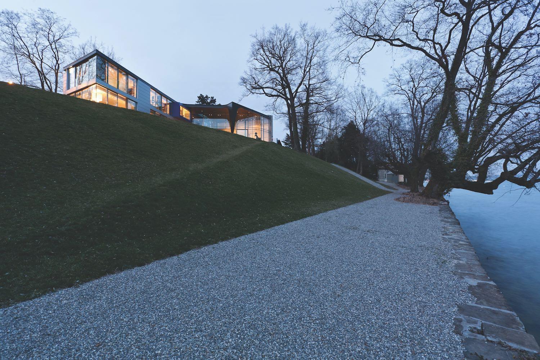 a modern house on a hill