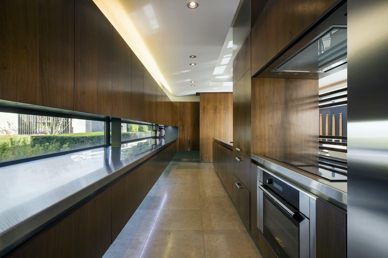 kitchen with narrow windows