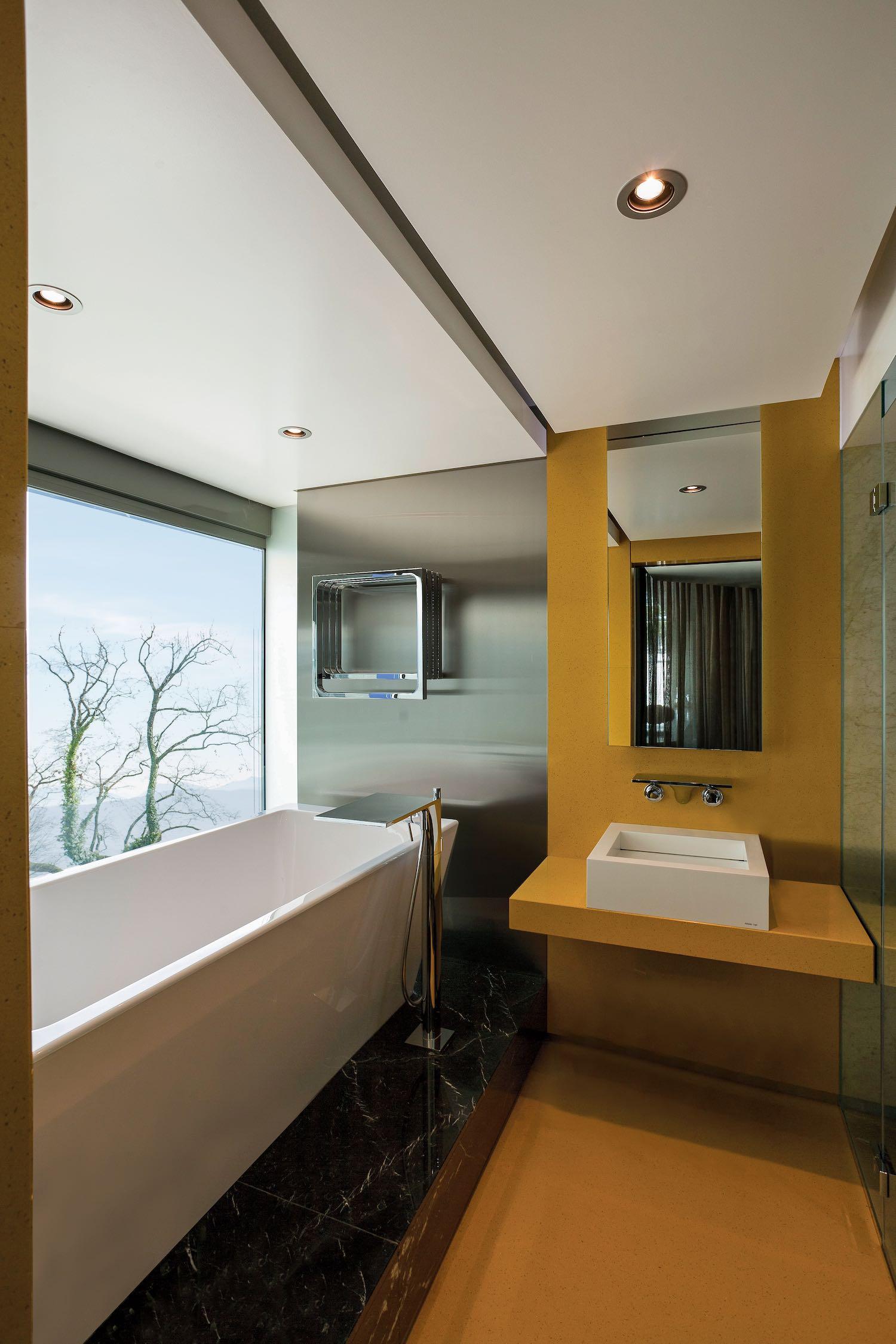 bathtub near window