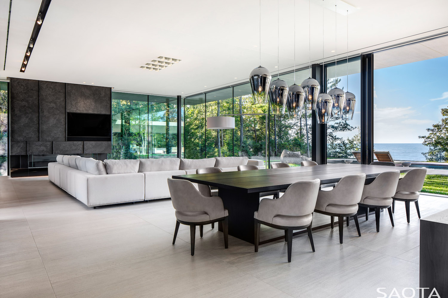 luxury living room design with modern sofa and dining table