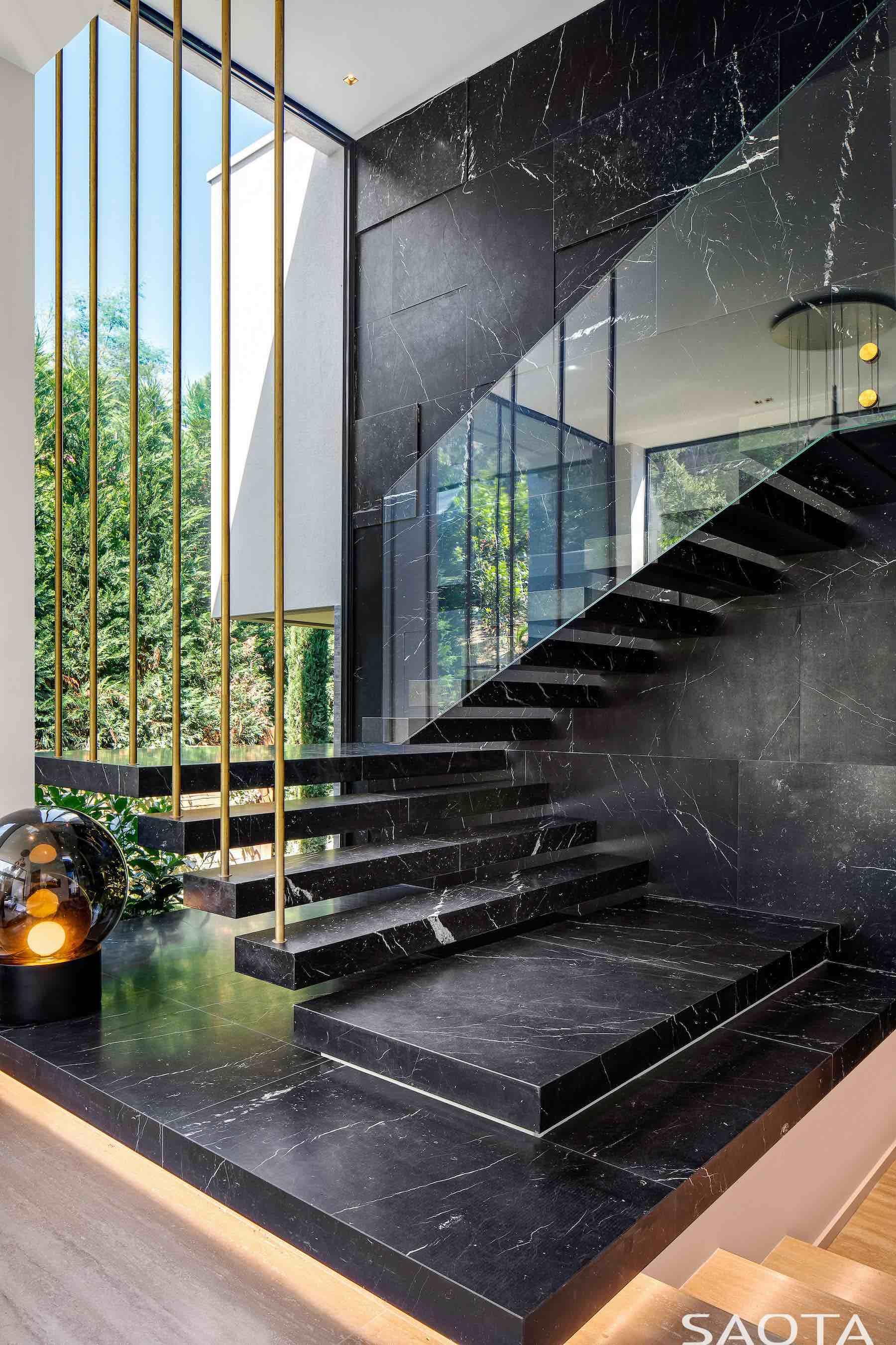 black ceramic staircase