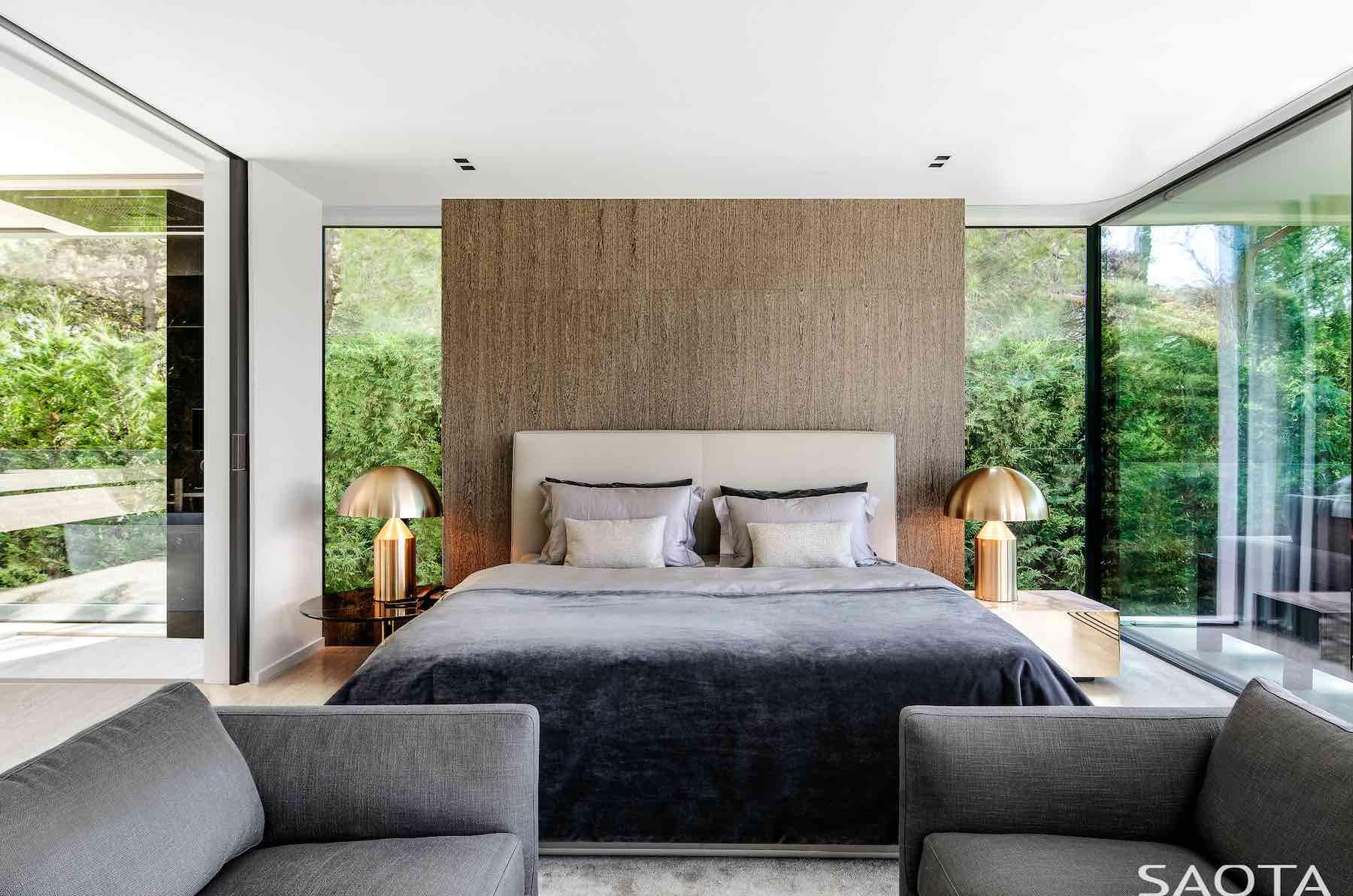 luxury bedroom narrow long windows