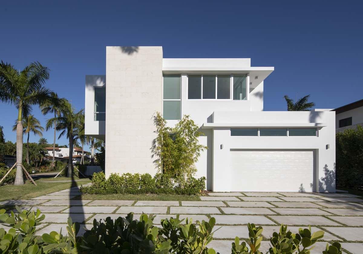 white exterior facade