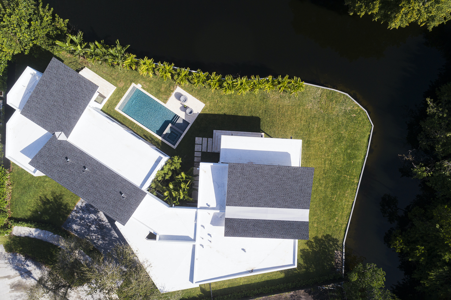 the aerial view of the house from the top