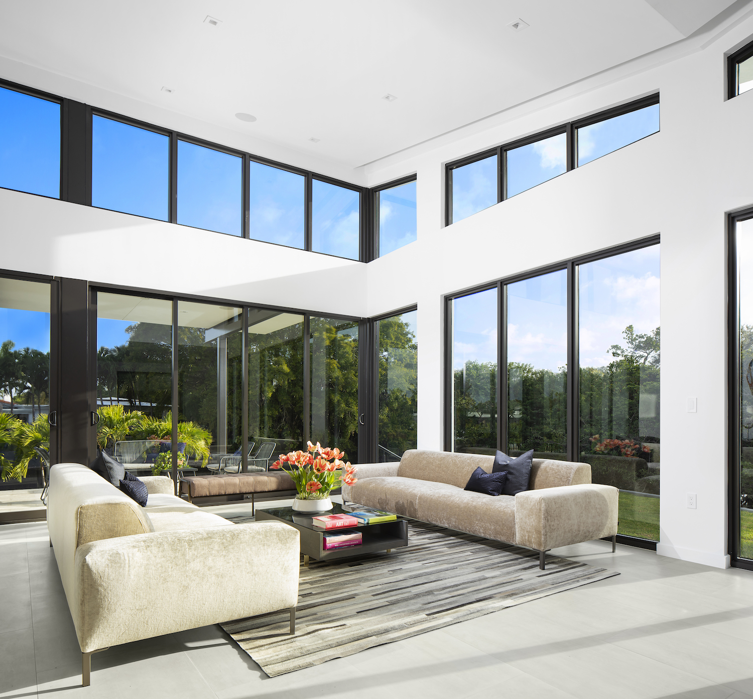 modern living room with double height volume