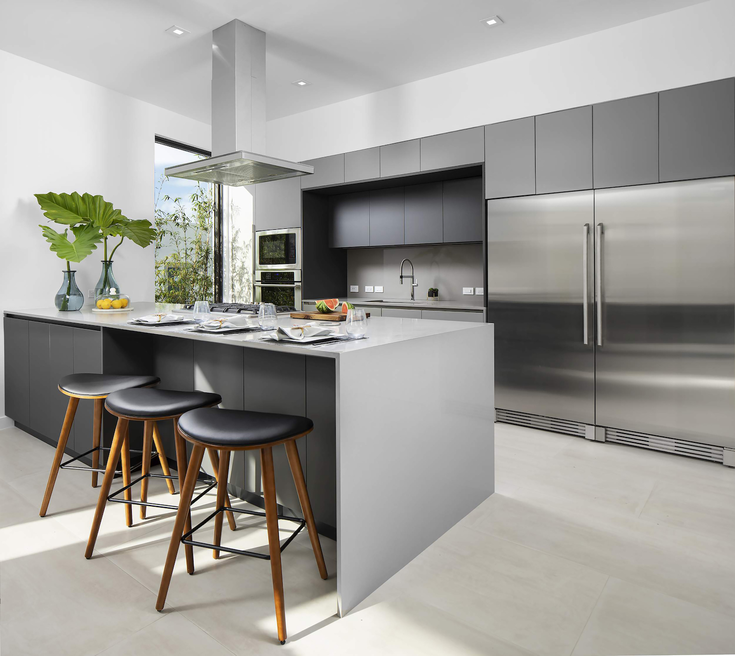 modern kitchen with island and stool bar's chair