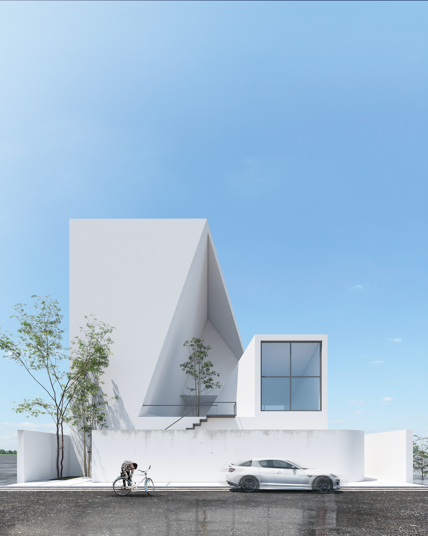a modern white villa with trees inside